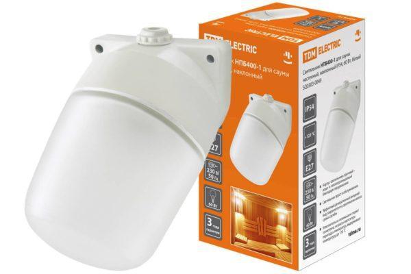 Светильник НПБ400-1 для сауны настенный, наклонный, IP54, 60 Вт, белый, TDM SQ0303-0049
