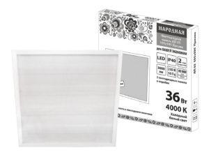 Светодиодная панель универсальная ЛП 03 595х595 Призма 19 мм 36 Вт 3000 Лм, 4000 К, белая, Народная SQ0329-0239