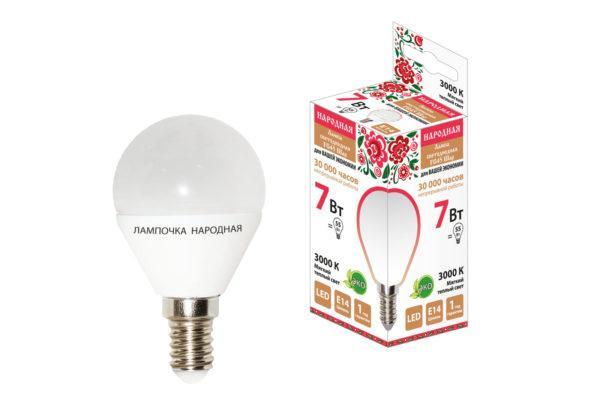 Лампа светодиодная FG45-7 Вт-230 В-3000 К–E14 Народная SQ0340-0185