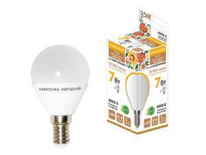 Лампа светодиодная FG45-7 Вт-230 В-4000 К–E14 Народная SQ0340-0186