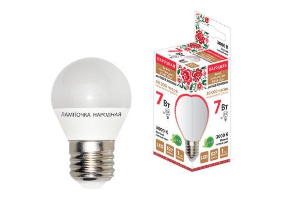 Лампа светодиодная FG45-7 Вт-230 В-3000 К–E27 Народная SQ0340-0188