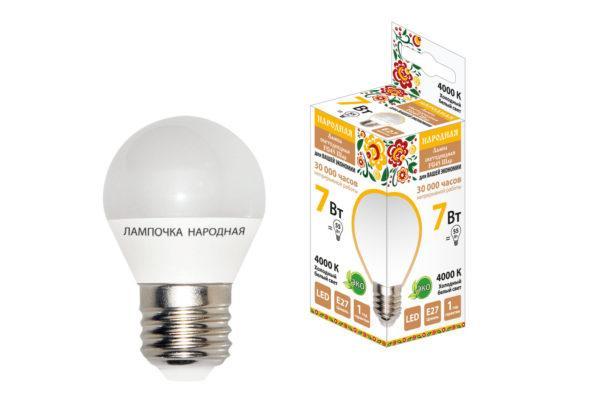 Лампа светодиодная FG45-7 Вт-230 В-4000 К–E27 Народная SQ0340-0189