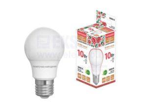 Лампа светодиодная НЛ-LED-A55-10 Вт-230 В-3000 К-Е27, (55х98 мм), Народная SQ0340-1508