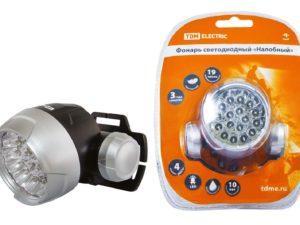 """Фонарь светодиодный """"Налобный"""", 18 светодиодов 54 лм/Вт, бат. 3*AAA TDM SQ0350-0004"""