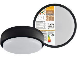 Светодиодный светильник LED ДПП 2902 12Вт 990 лм 4000К IP65 чёрный круг 160*48 мм Народный SQ0366-0133