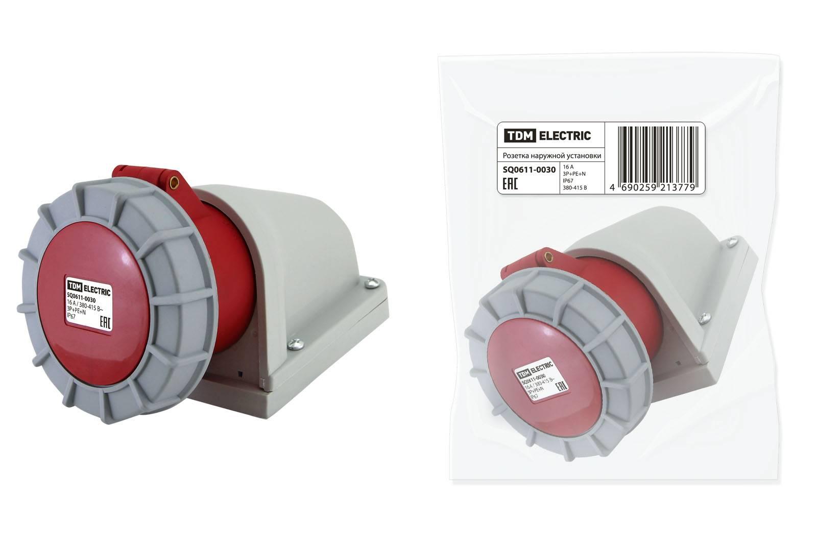 Розетка наружной установки IP67 16А 3Р+РЕ 380В TDM SQ0611-0029