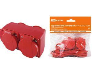 Удлинители силовые с защитными крышками IP44