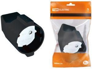 Кабельная розетка 2П б/з с з/ш 10А 250B черная TDM SQ1806-0030