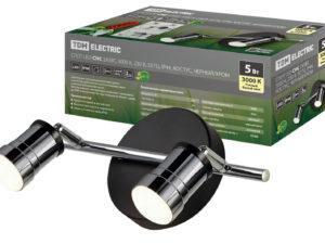 Спот LED СНС 2х5Вт, 3000 K, 230 В, 50 Гц, IP44, Костус, черный/хром TDM, SQ0358-0229