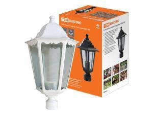 Светильник 6060-23 садово-парковый шестигранник, 60Вт, на опору, белый SQ0330-0063