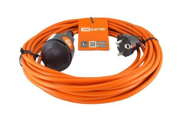Удлинитель-шнур силовой УШ10 TDM (штепс. гнездо, 20м ПВС 2х1,0) SQ1301-0606