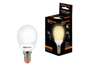 Лампа энергосберегающая КЛЛ-G45-11 Вт-2700 К–Е14 TDM SQ0323-0155