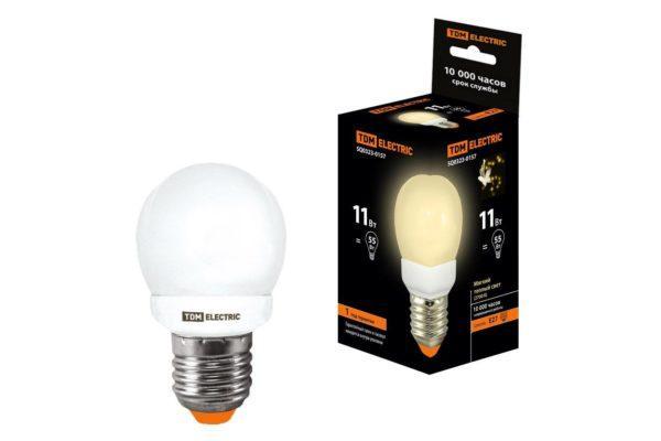 Лампа энергосберегающая КЛЛ-G45-11 Вт-2700 К–Е27 TDM SQ0323-0157