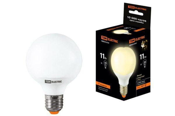 Лампа энергосберегающая КЛЛ-G55-11 Вт-2700 К–Е27 TDM SQ0323-0161