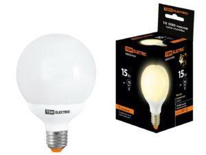 Лампа энергосберегающая КЛЛ-G80-15 Вт-2700 К–Е27 TDM SQ0323-0165