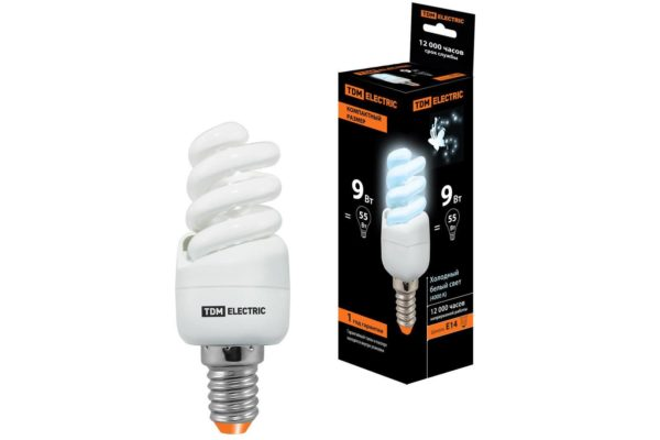 Лампа энергосберегающая КЛЛ-FSТ2-9 Вт-4000 К–Е14 КОМПАКТ (35х95 мм) TDM SQ0323-0172