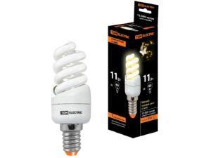 Лампа энергосберегающая КЛЛ-FSТ2-11 Вт-2700 К–Е14 КОМПАКТ (35х98 мм) TDM SQ0323-0174