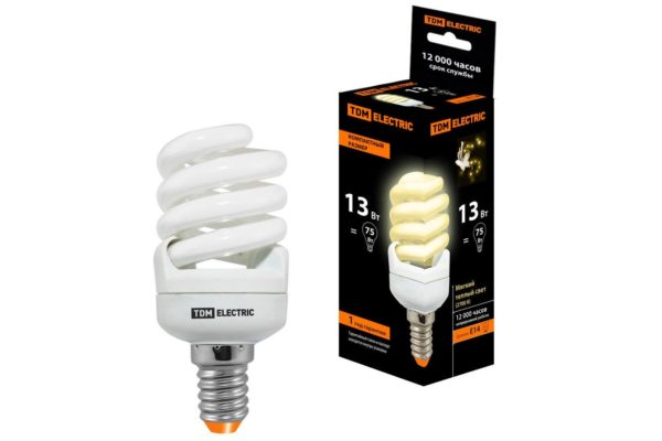Лампа энергосберегающая КЛЛ-FSТ2-13 Вт-2700 К–Е14 КОМПАКТ (41х95 мм) TDM SQ0323-0178