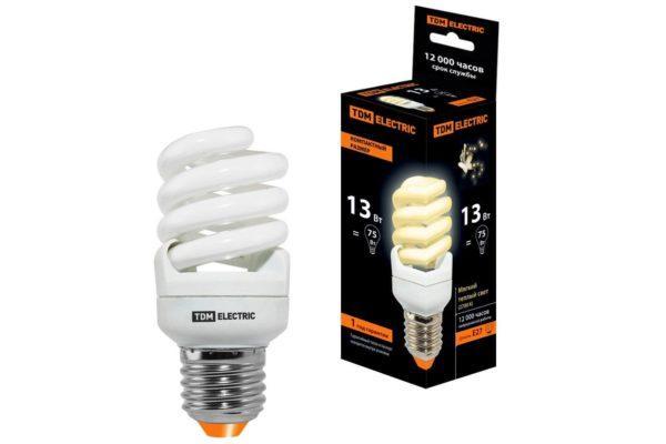 Лампа энергосберегающая КЛЛ-FSТ2-13 Вт-2700 К–Е27 КОМПАКТ (41х95 мм) TDM SQ0323-0179