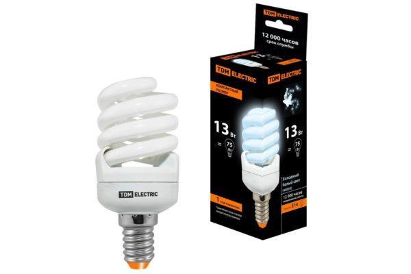 Лампа энергосберегающая КЛЛ-FSТ2-13 Вт-4000 К–Е14 КОМПАКТ (41х95 мм) TDM SQ0323-0180