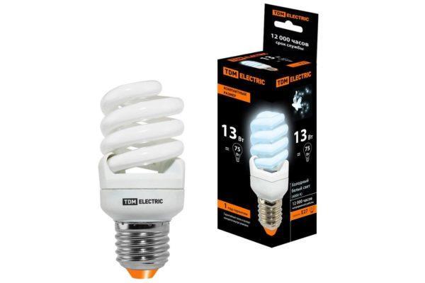 Лампа энергосберегающая КЛЛ-FSТ2-13 Вт-4000 К–Е27 КОМПАКТ (41х95 мм) TDM SQ0323-0181