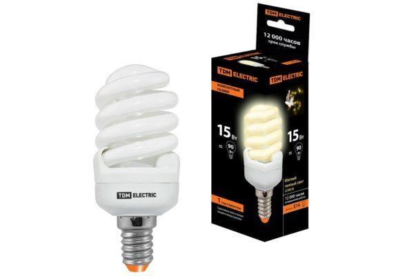Лампа энергосберегающая КЛЛ-FSТ2-15 Вт-2700 К–Е14 КОМПАКТ (40х98 мм) TDM SQ0323-0182
