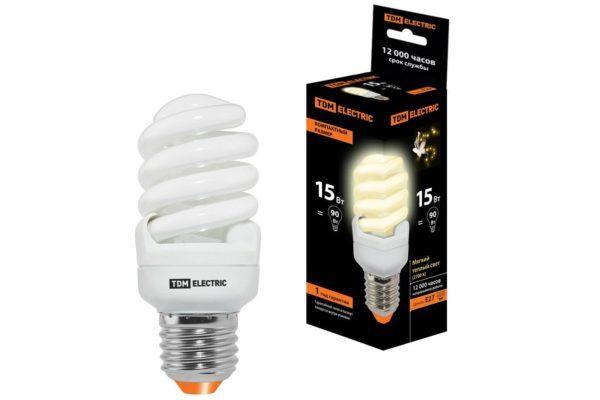 Лампа энергосберегающая КЛЛ-FSТ2-15 Вт-2700 К–Е27 КОМПАКТ (40х98 мм) TDM SQ0323-0183