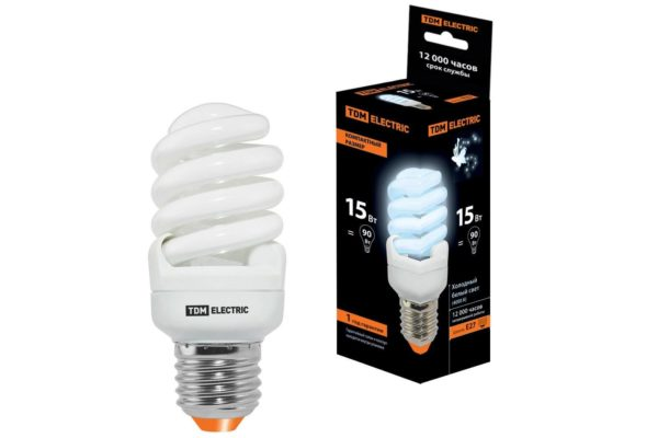 Лампа энергосберегающая КЛЛ-FSТ2-15 Вт-4000 К–Е27 КОМПАКТ (40х98 мм) TDM SQ0323-0186