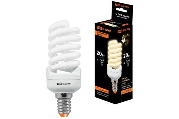 Лампа энергосберегающая КЛЛ-FSТ2-20 Вт-2700 К–Е14 КОМПАКТ (41х108 мм) TDM SQ0323-0189