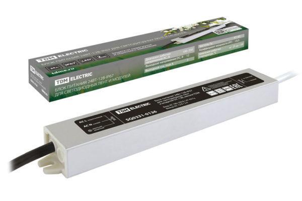 Блок питания 24Вт-12В-IP67 для светодиодных лент и модулей DC 12В, металл TDM SQ0331-0136