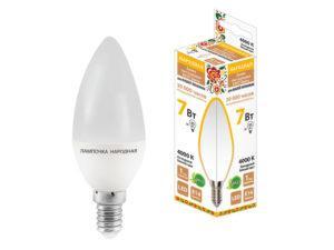 Лампа светодиодная FС37-7 Вт-230 В -4000 К–E14 Народная SQ0340-0192