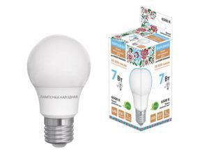 Лампа светодиодная НЛ-LED-A55-7 Вт-230 В-6500 К-Е27, (55х98 мм), Народная SQ0340-1507