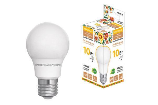 Лампа светодиодная НЛ-LED-A55-10 Вт-230 В-4000 К-Е27, (55х98 мм), Народная SQ0340-1509