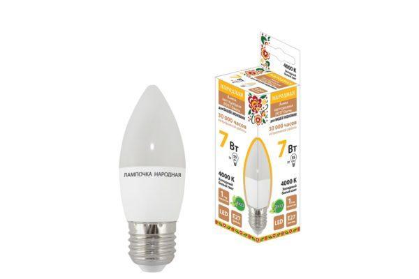 Лампа светодиодная FС37-7 Вт-230 В -4000 К–E27 Народная SQ0340-1543