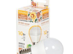 Лампа светодиодная FG45-10 Вт-230 В-4000 К–E27 Народная SQ0340-1589