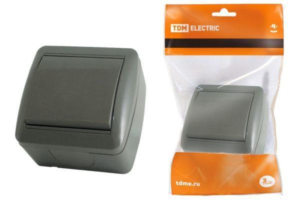 """Выключатель 1-кл. открытой установки IP44 10А серый """"Селигер"""" TDM SQ1818-0101"""