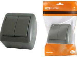 Выключатель 2-кл. открытой установки IP44 10А серый «Селигер» TDM SQ1818-0102
