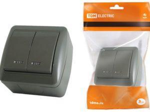 Выключатель 2-кл. открытой установки с подсветкой IP44 10А серый «Селигер» TDM SQ1818-0104