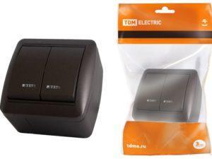 Выключатель 2-кл. открытой установки с подсветкой IP44 10А шоколад «Селигер» TDM SQ1818-0204