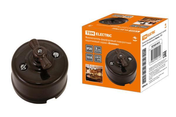 Выключатель фарфоровый поворотный с ручкой (бантик) 10А коричневый «Болонь» TDM SQ1820-0410
