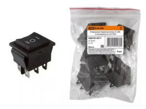 Клавишный переключатель YL-206 черный 3 положения 2з+2з TDM SQ0703-0017
