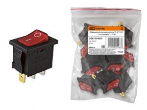 Клавишный переключатель YL-211-02 черный корпус красная клавиша 2 положения 1з TDM SQ0703-0020
