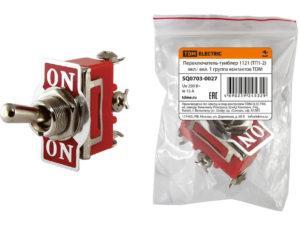 Переключатель-тумблер 1121 (ТП1-2) вкл.- вкл. 1 группа контактов TDM SQ0703-0027