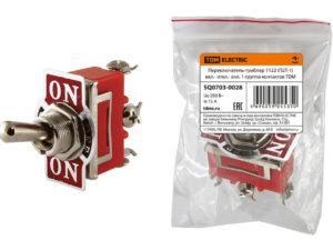 Переключатель-тумблер 1122 (П2Т-1) вкл.- откл.- вкл. 1 группа контактов TDM SQ0703-0028