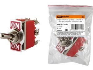 Переключатель-тумблер 1321 (ТП2-2) вкл.- вкл. 2 группы контактов TDM SQ0703-0030