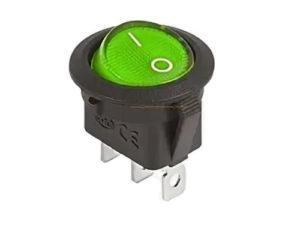 Клавишный переключатель круглый MIRS-101-3-G зеленый с подсветкой 2 положения 1з TDM SQ0703-0040