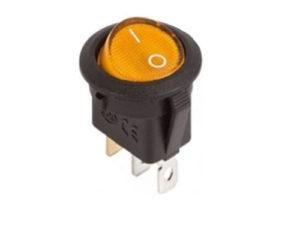 Клавишный переключатель круглый MIRS-101-3-Y желтый с подсветкой 2 положения 1з TDM SQ0703-0042