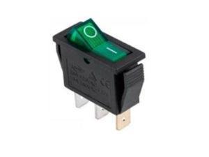 Клавишный переключатель IRS-101-G зеленый с подсветкой 2 положения 1з TDM SQ0703-0044