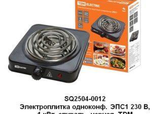 Электроплитка одноконф. ЭПС1 230 В, 1 кВт, спираль, черная, TDM SQ2504-0012