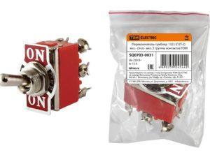 Переключатель-тумблер 1322 (П2Т-2) вкл.- откл.- вкл. 2 группы контактов TDM SQ0703-0031